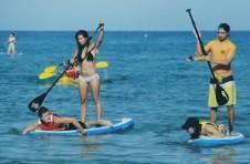 Thumbnail nos étudiants ramant sur une planche de surf, lors de notre programme activités nautiques